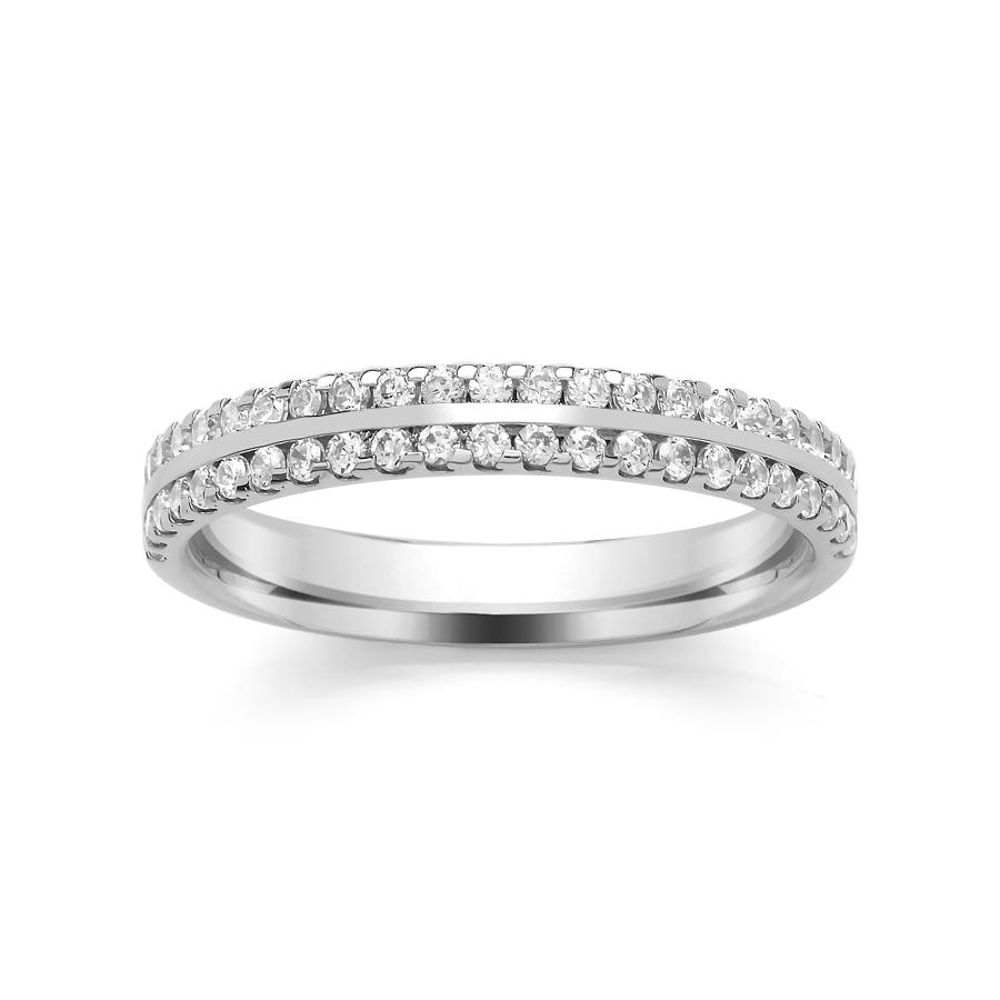 3mm Claw Set Wedding Ring, With Centre Bar