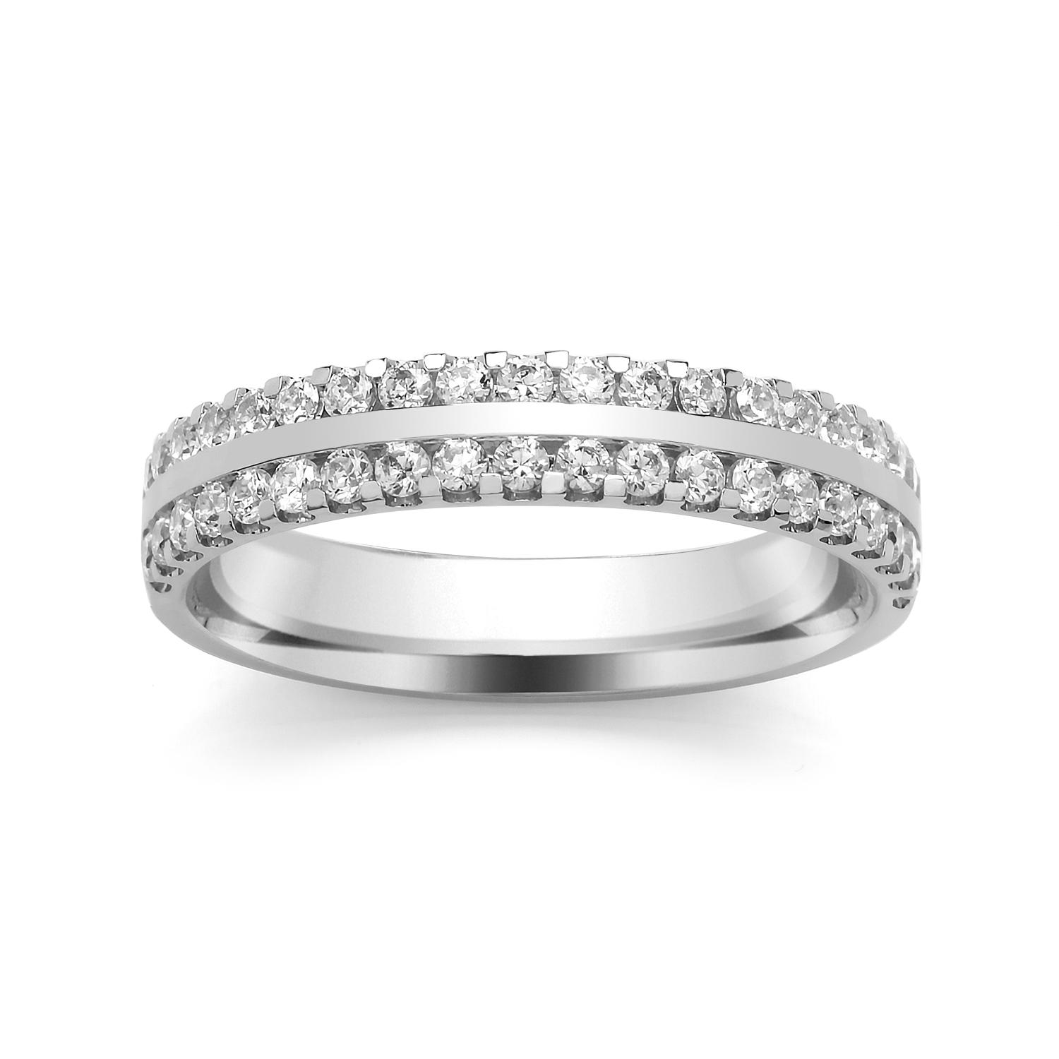 3.8mm Claw Set Wedding Ring, With Centre Bar
