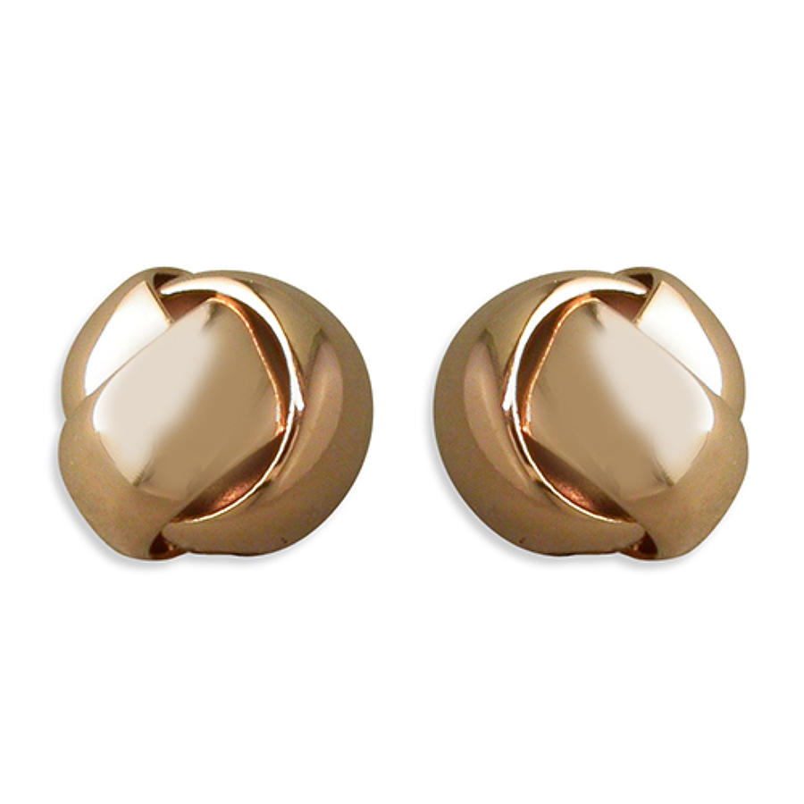 Sterling Silver & Rose Gold Plated Knot Stud Earrings