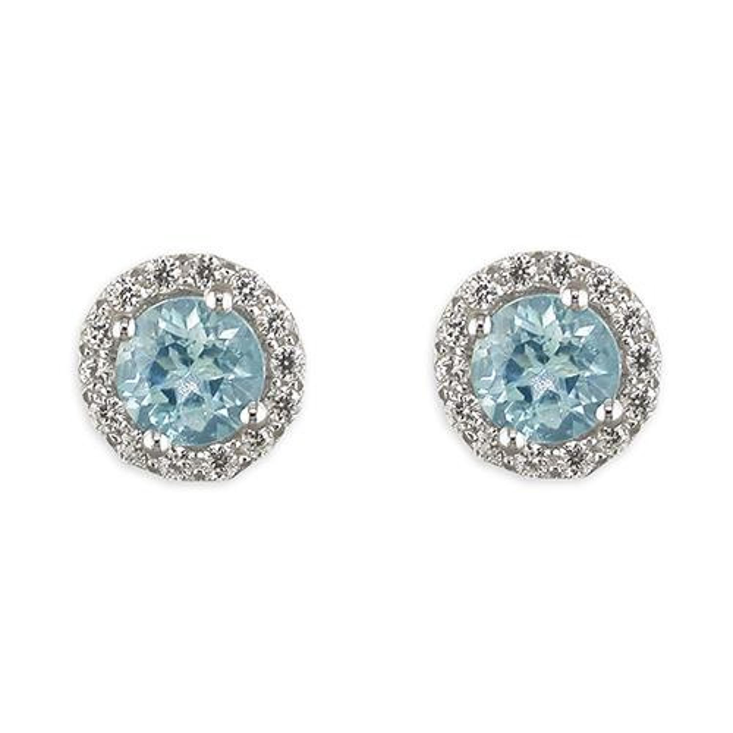 Sterling Silver Blue Topaz Cluster Stud Earrings