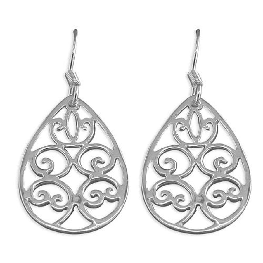 Sterling Silver Open Filigree Drop Earrings