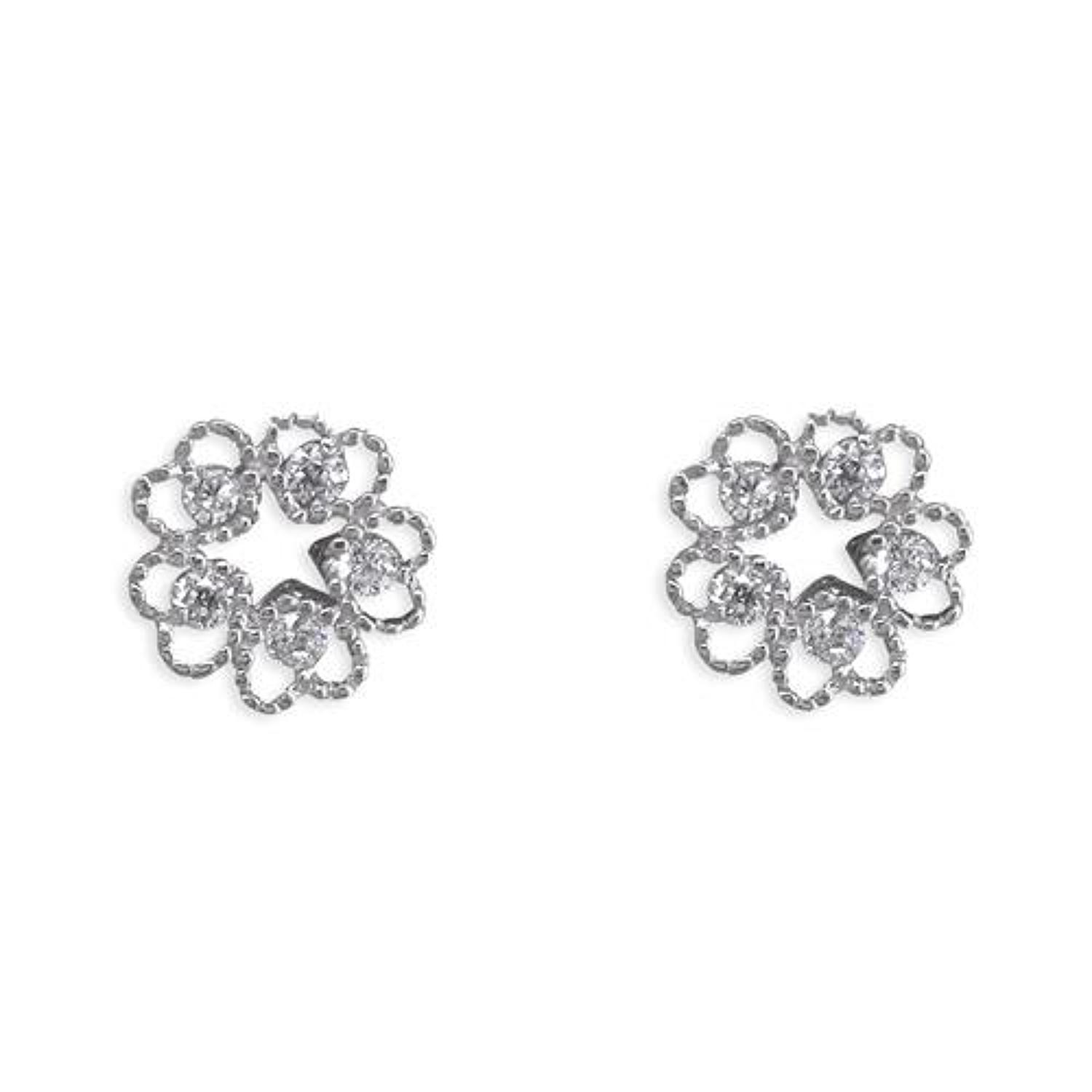 Sterling Silver Cubic Zirconia Heart Circle Studs