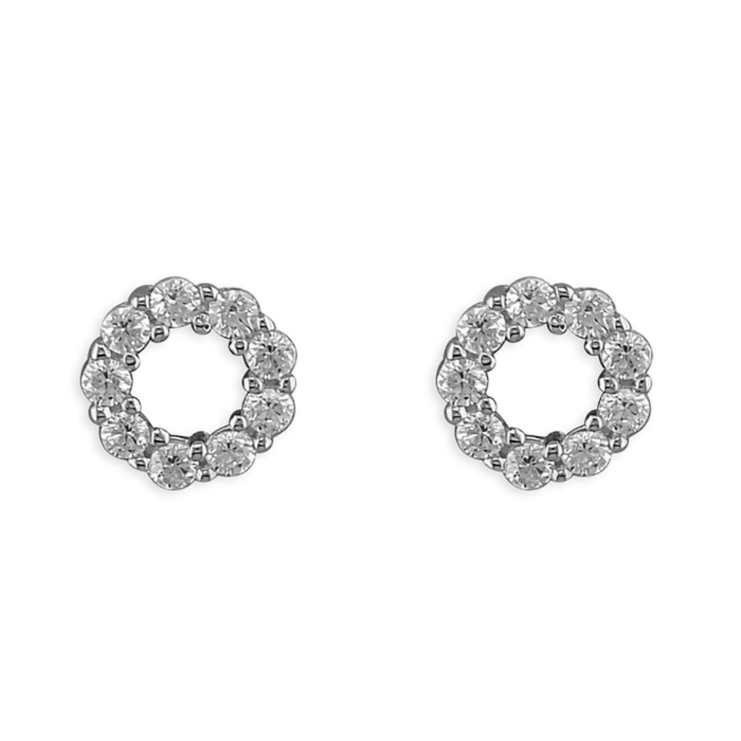 Sterling Silver Small Cubic Zirconia Round Stud Earrings