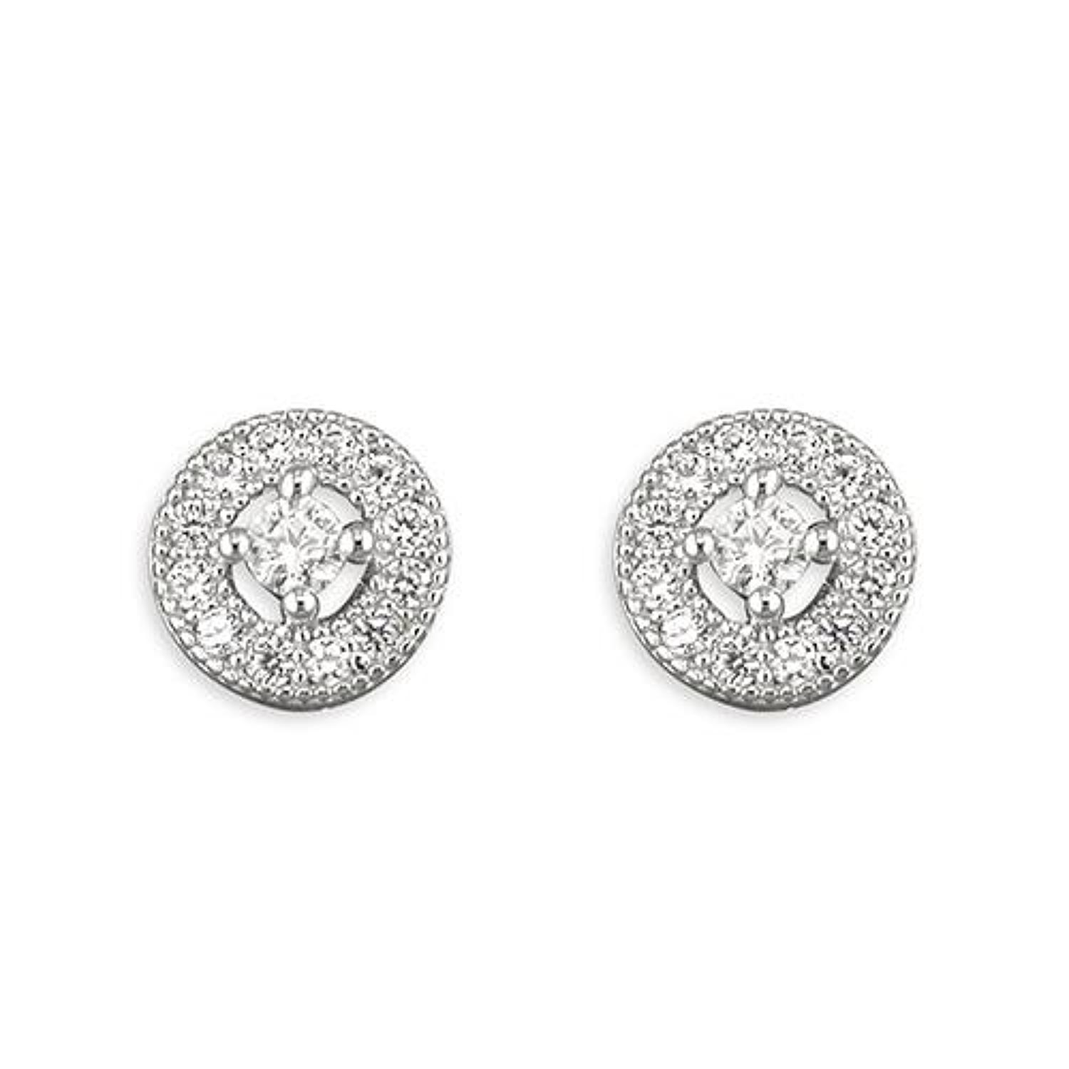 Sterling Silver Small Cubic Zirconia Cluster Stud Earrings