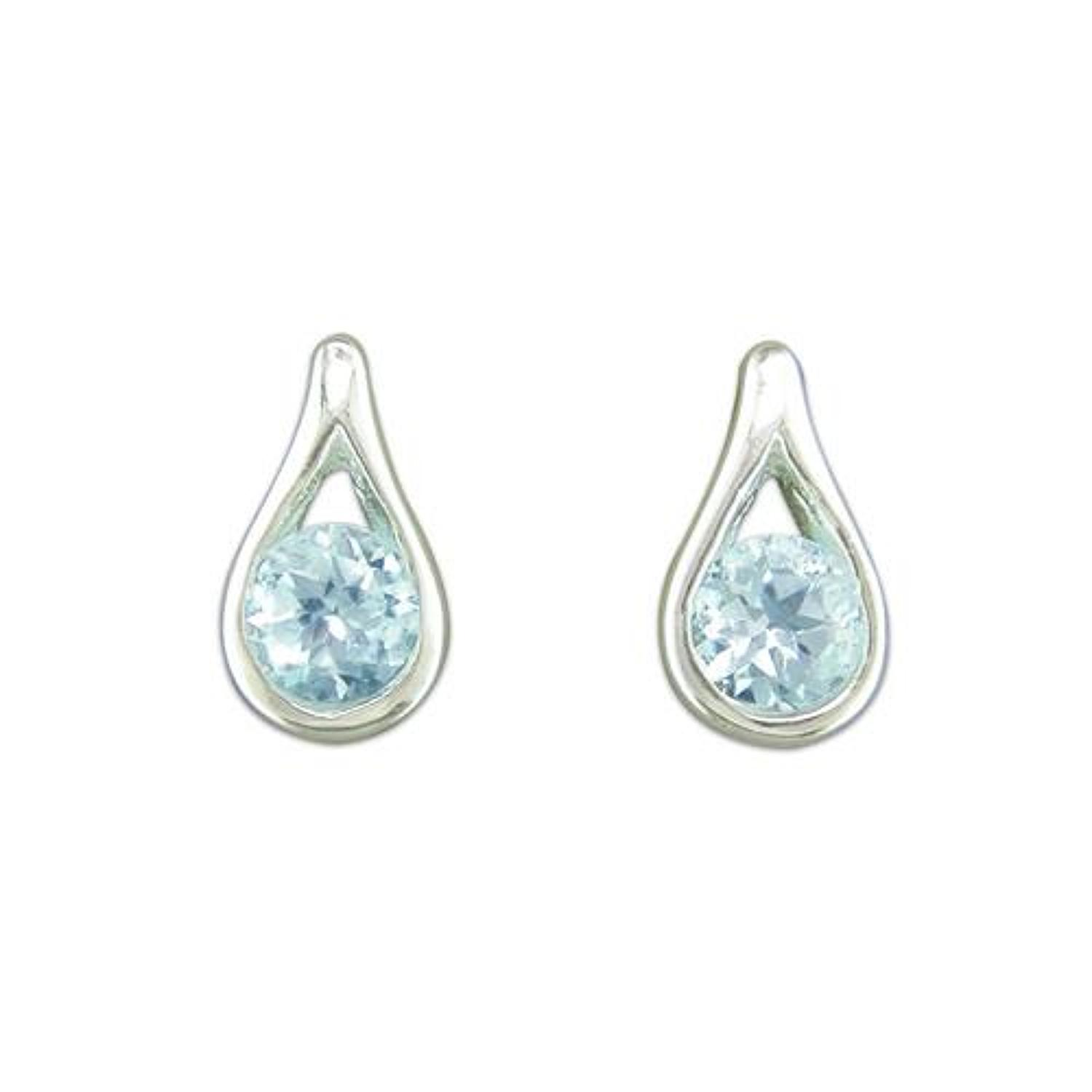 Sterling Silver Blue Topaz Teardrop Stud Earrings