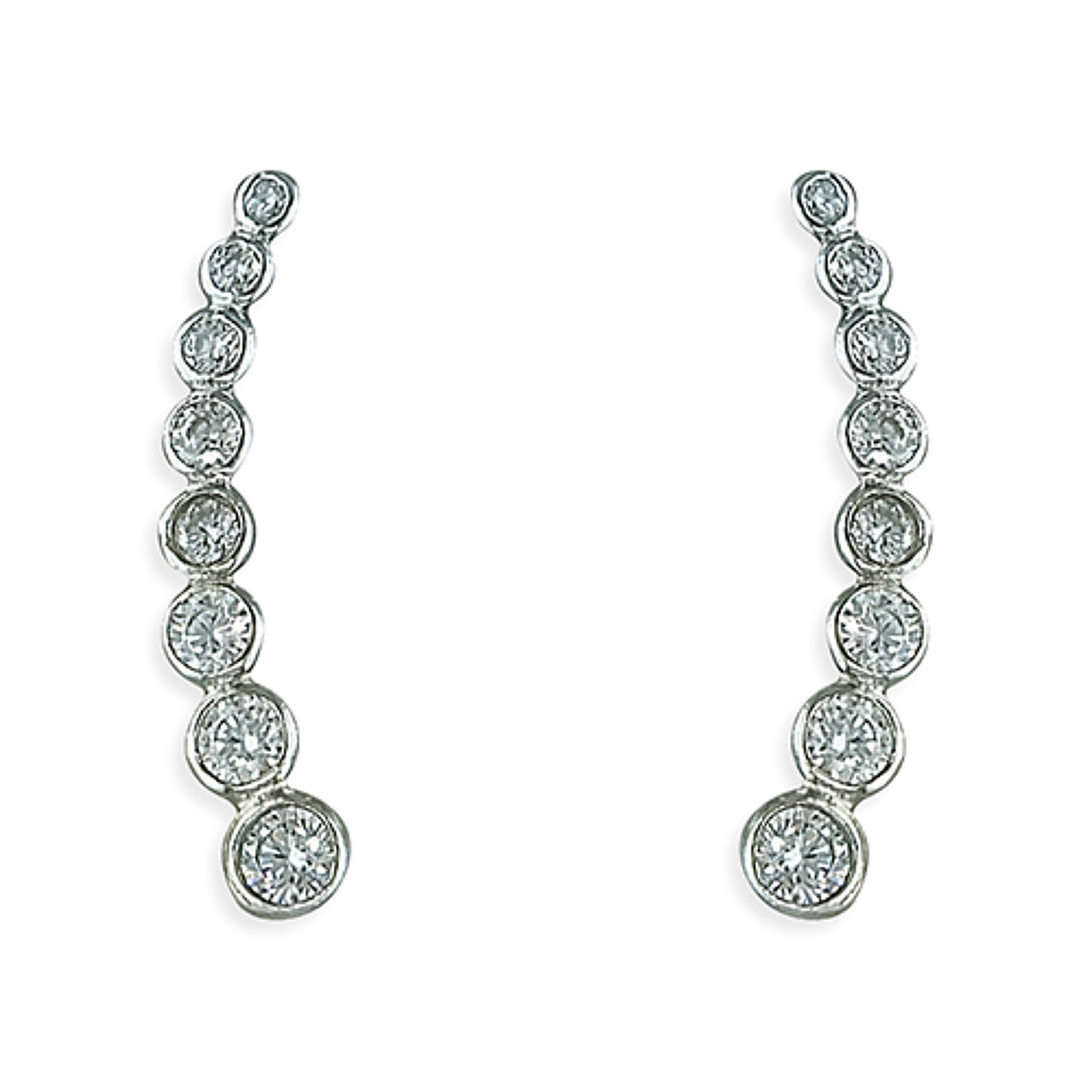 Sterling Silver Cubic Zirconia Graduated Ear Climber