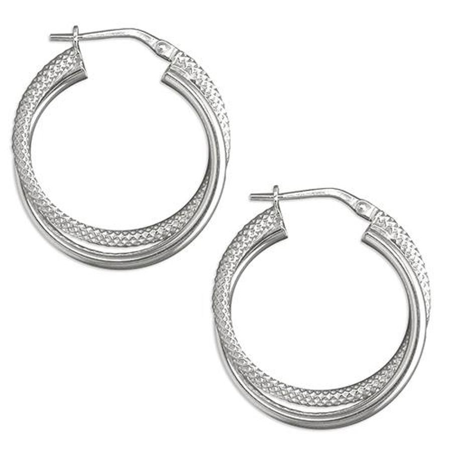 Sterling Silver Double Row Hoop Earrings