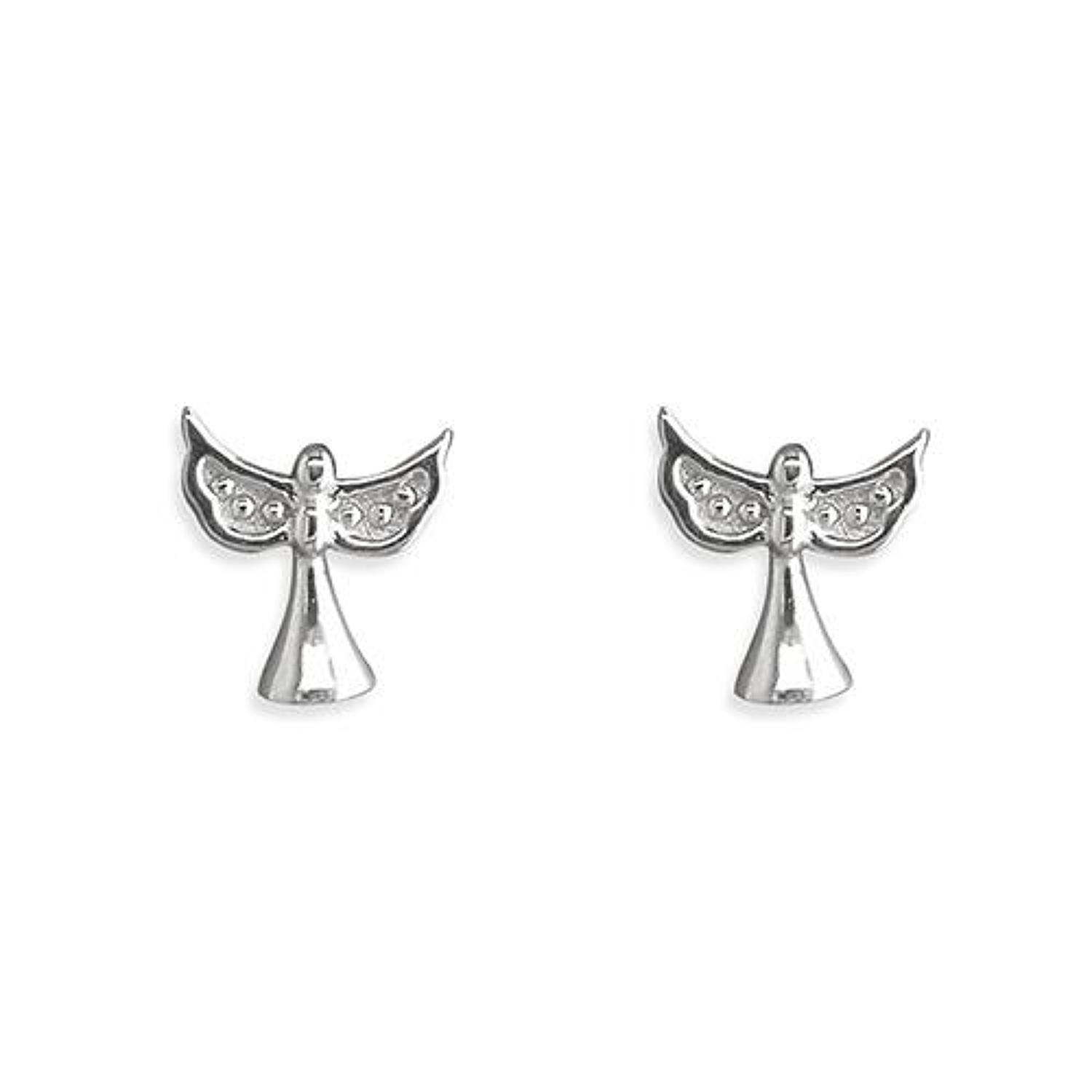 Sterling Silver Small Angel Stud Earrings