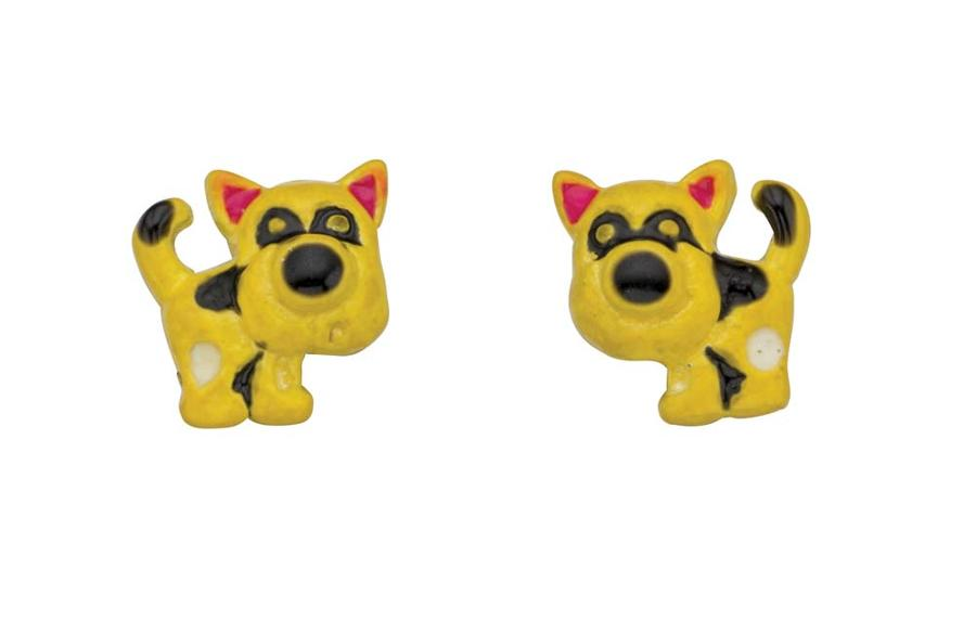 Sterling Silver Enamel Dog Stud Earrings