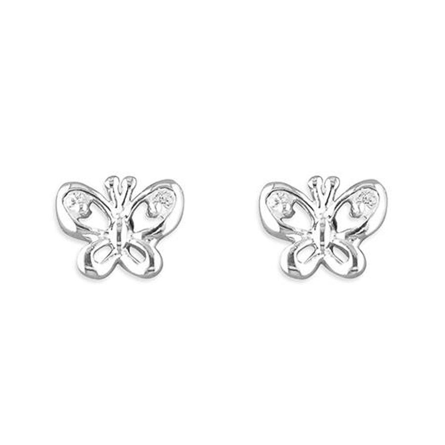 Sterling Silver Cubic Zirconia Butterfly Studs
