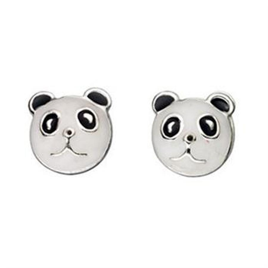 Sterling Silver Enamel Panda Stud Earrings