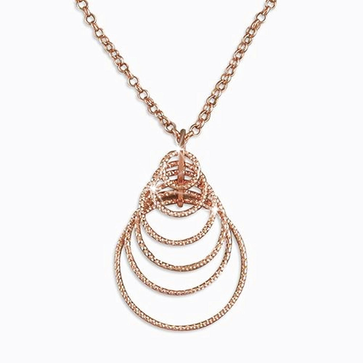 Sterling Silver & Rose Gold Plated Multi Circle Sparkle Pendant