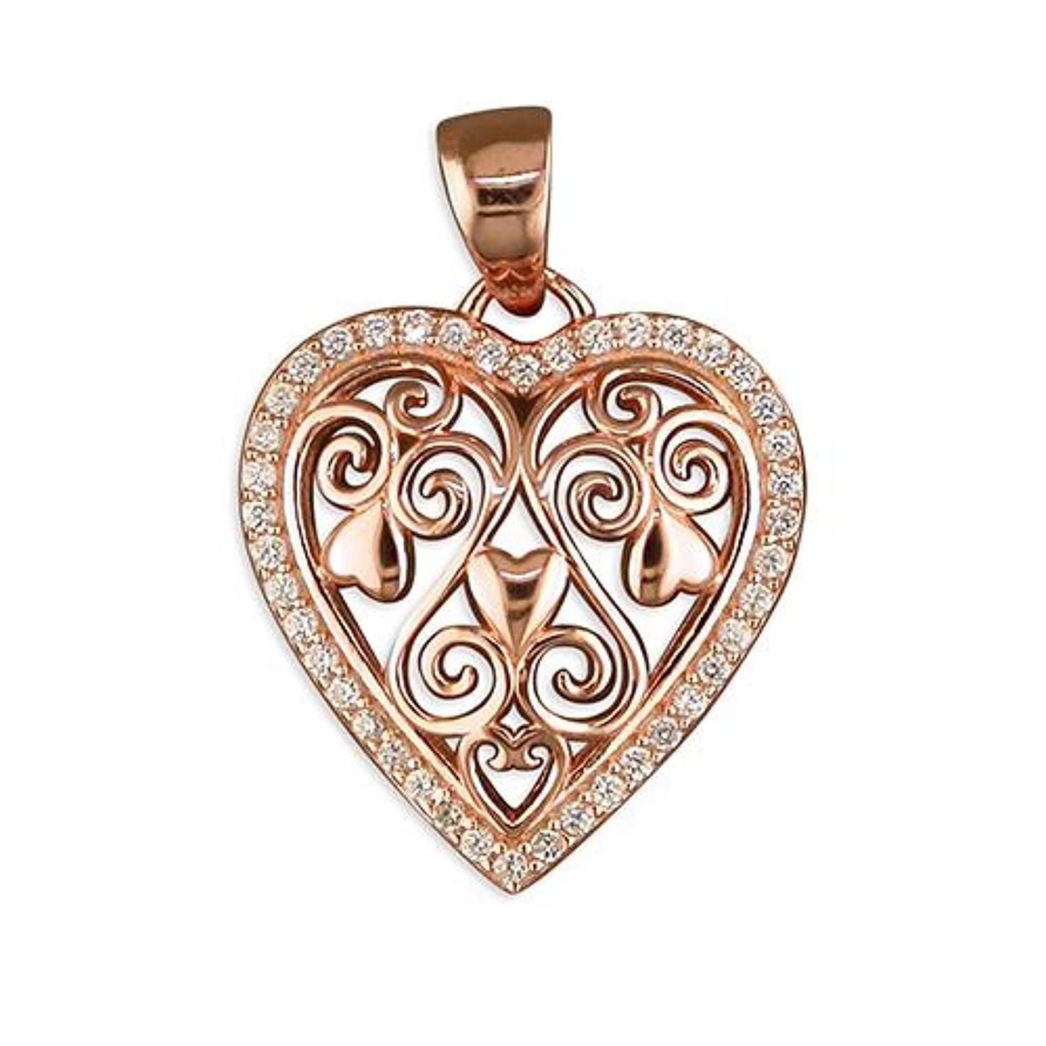 Sterling Silver & Rose Gold Plated Filigree Heart Pendant