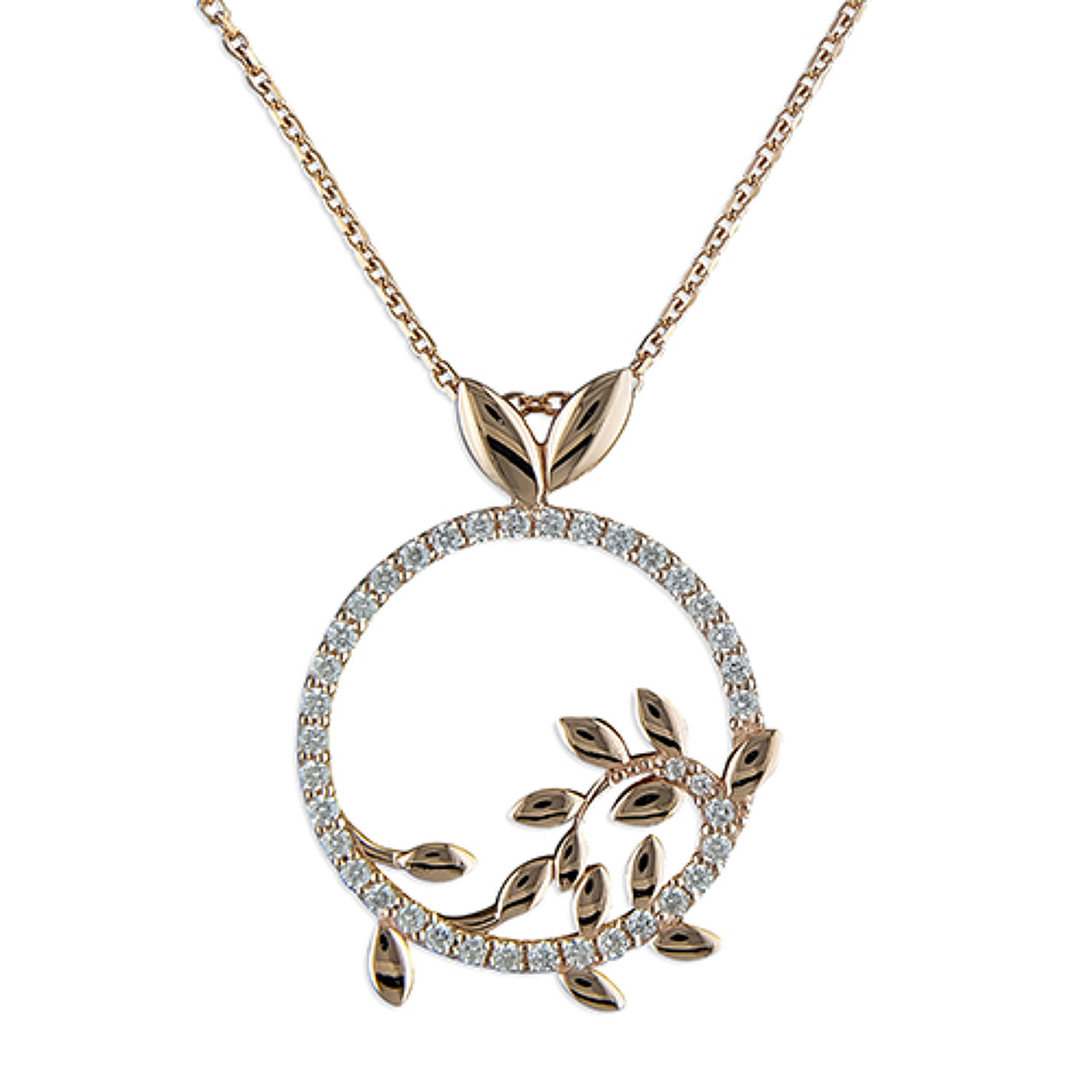 Sterling Silver & Rose Gold Plated Cubic Zirconia Round Pendant