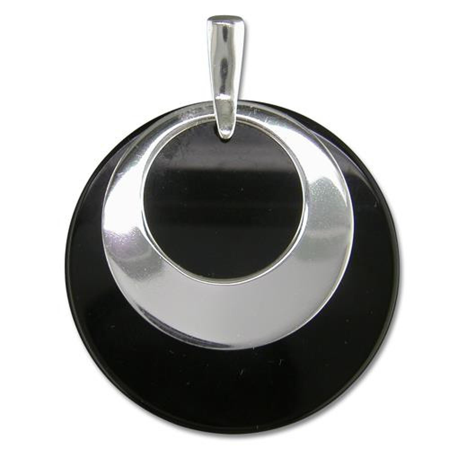 Sterling Silver & Onyx Disc Pendant