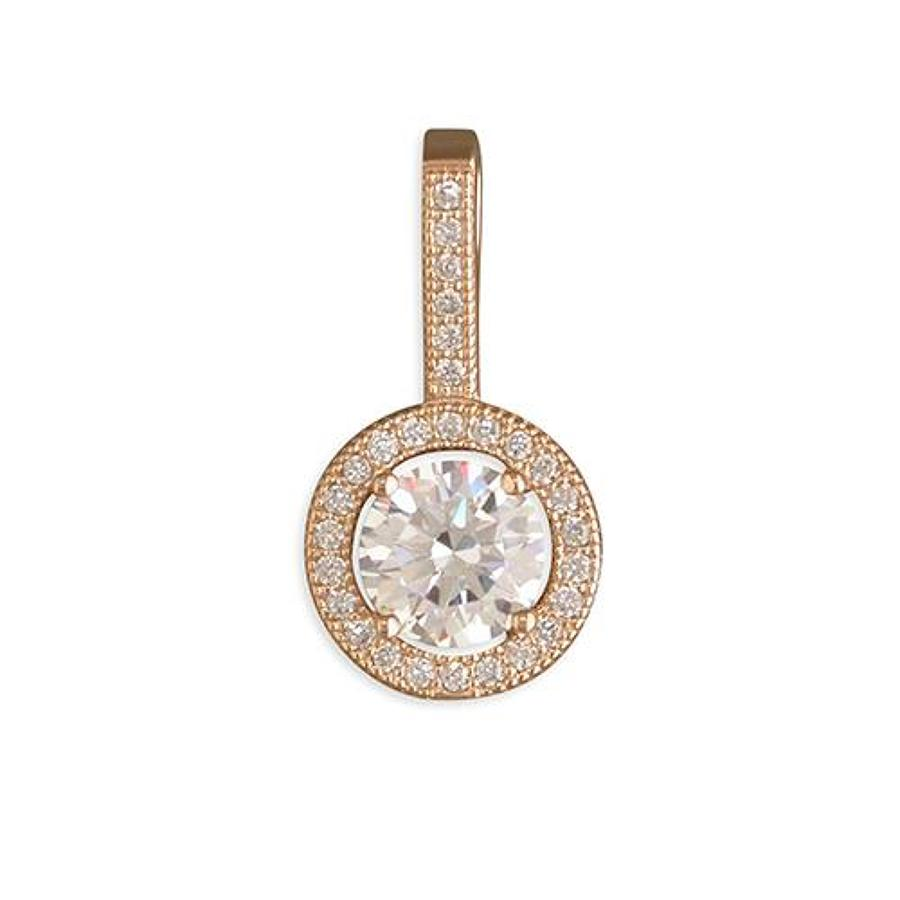 Sterling Silver & Rose Gold Plated Cubic Zirconia Cluster Pendant
