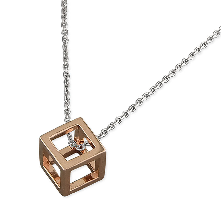 Sterling Silver & Rose Gold Plated Cube Pendant