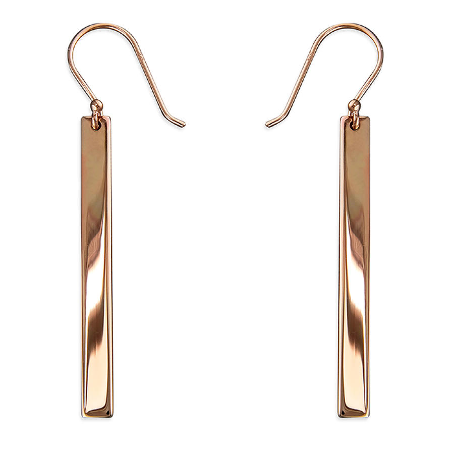Sterling Silver & Rose Gold Plated Bar Drop Earrings
