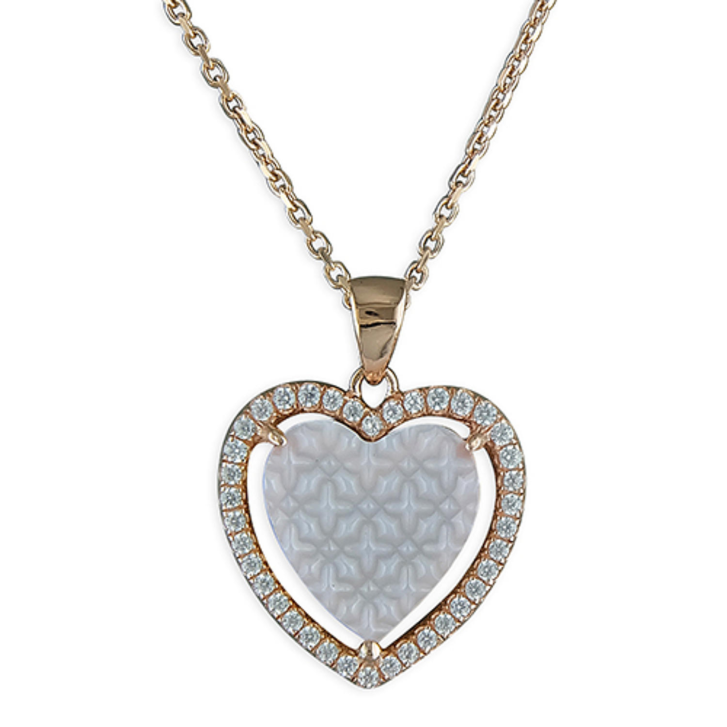 Sterling Silver & Rose Gold Plated Mother Of Pearl Heart Pendant