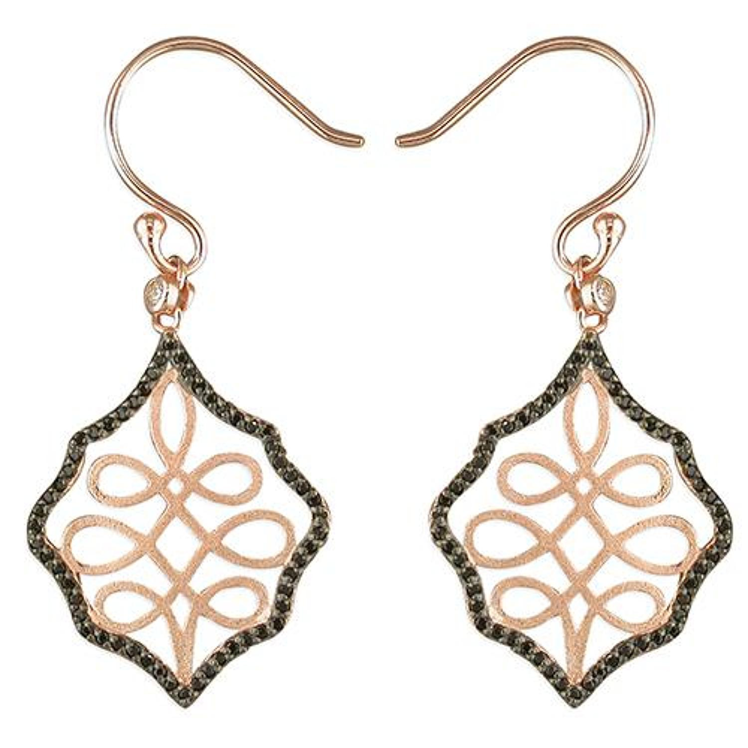 Sterling Silver & Rose Gold Plated Loop Design Drop Earrings