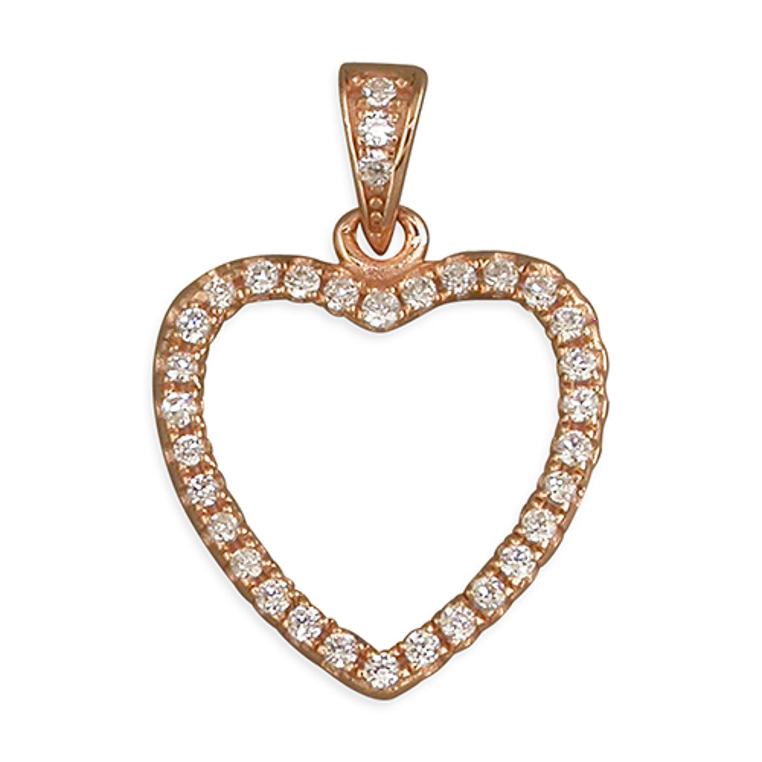 Sterling Silver & Rose Gold Plated Cubic Zirconia Open Heart Pendant