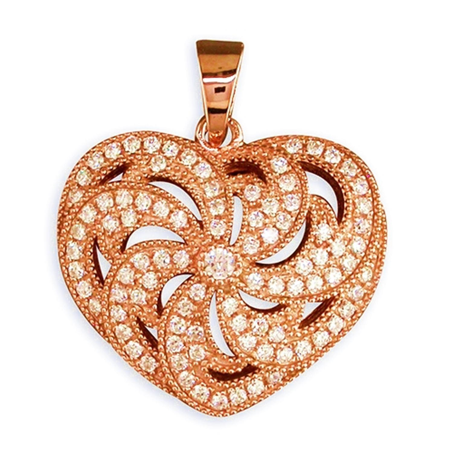 Sterling Silver & Rose Gold Plated Cubic Zirconia Heart Pendant