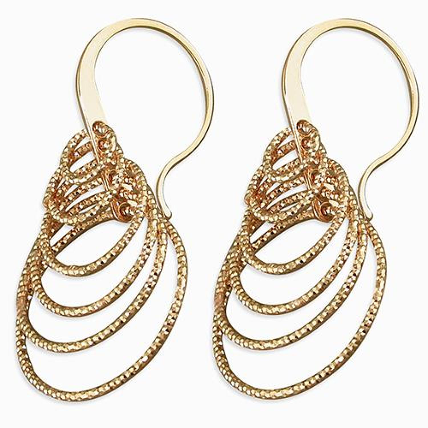 Sterling Silver & Rose Gold Plated Multi Circle Sparkle Earrings