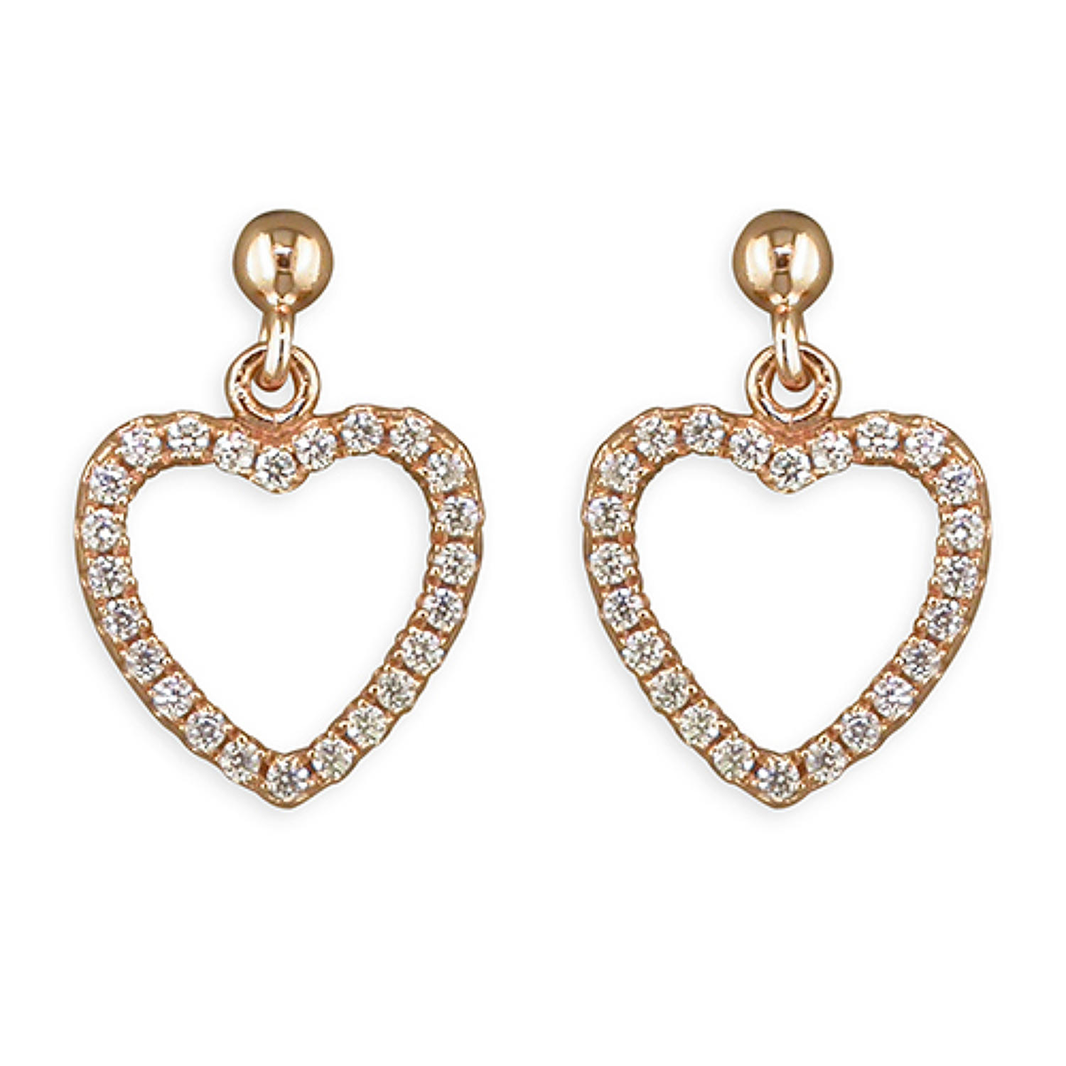 Sterling Silver & Rose Gold Plated Open Heart Cubic Zirconia Drop Earr