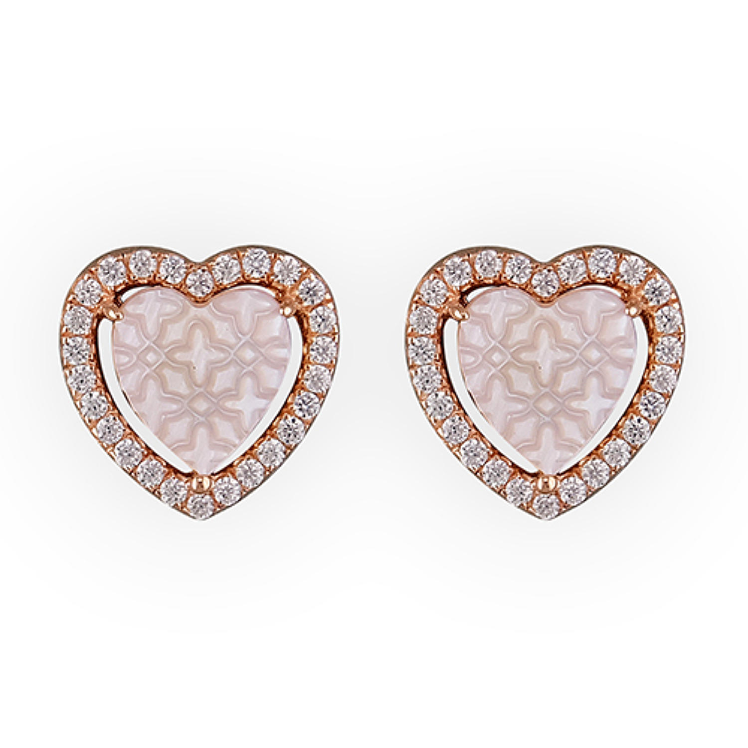 Sterling Silver & Rose Gold Plated Mother Of Pearl Heart Stud Earrings
