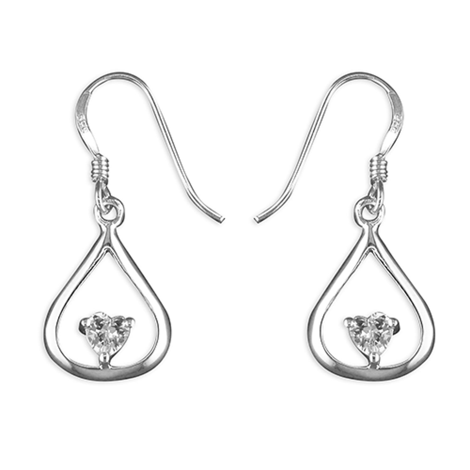 Sterling Silver Heart Cubic Zirconia In Outline Teardrop Earrings