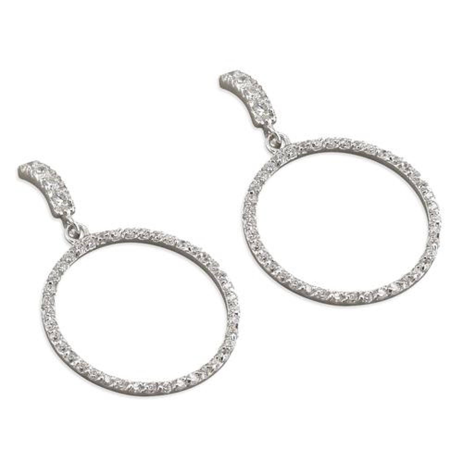 Sterling Silver Cubic Zirconia Open Circle Drop Earrings