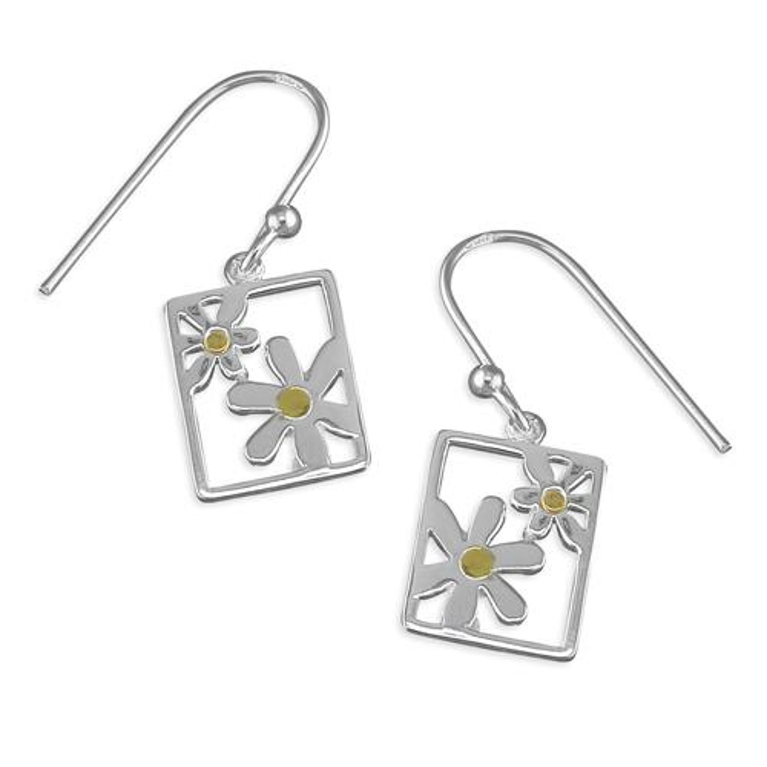 Sterling Silver Oblong Daisy Drop Earrings