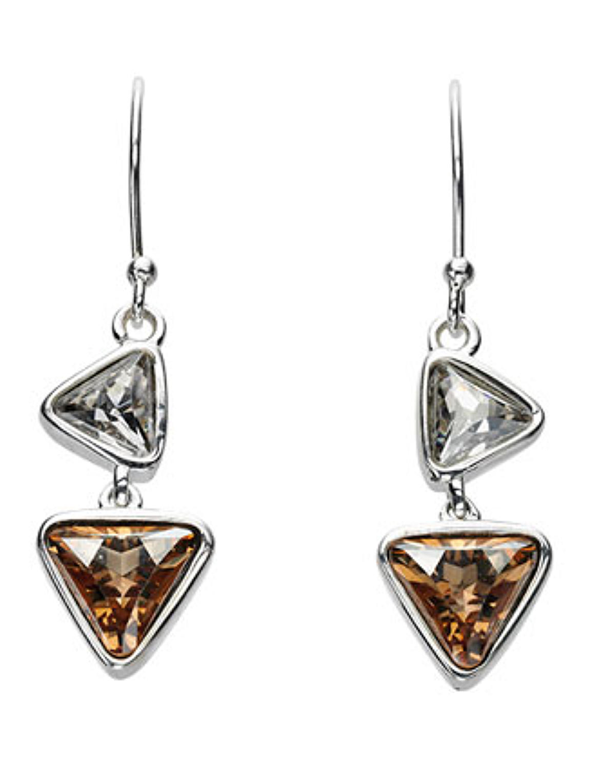 Sterling Silver Triangular Shaped Crystal Drop Earrings