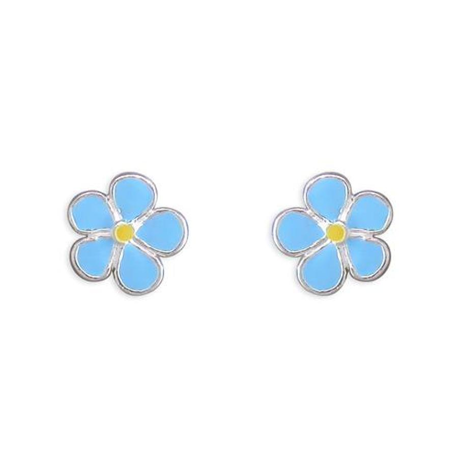 Sterling Silver Blue Enamel Flower Stud Earrings
