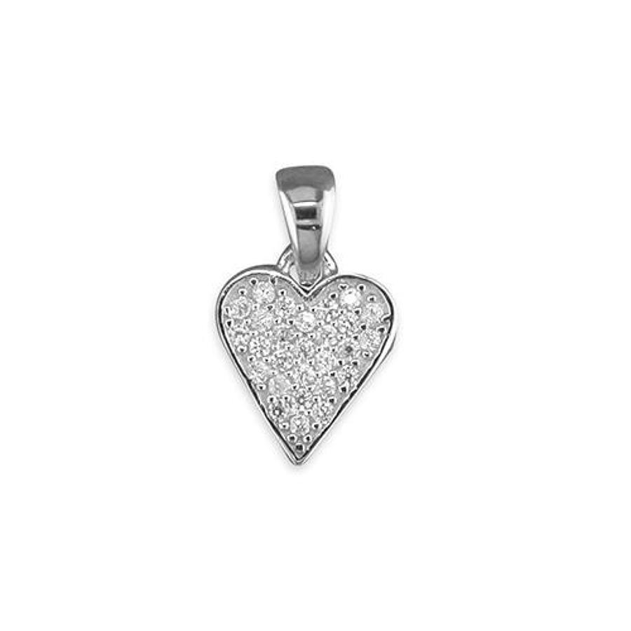 Sterling Silver Cubic Zirconia Pave Set Heart Pendant