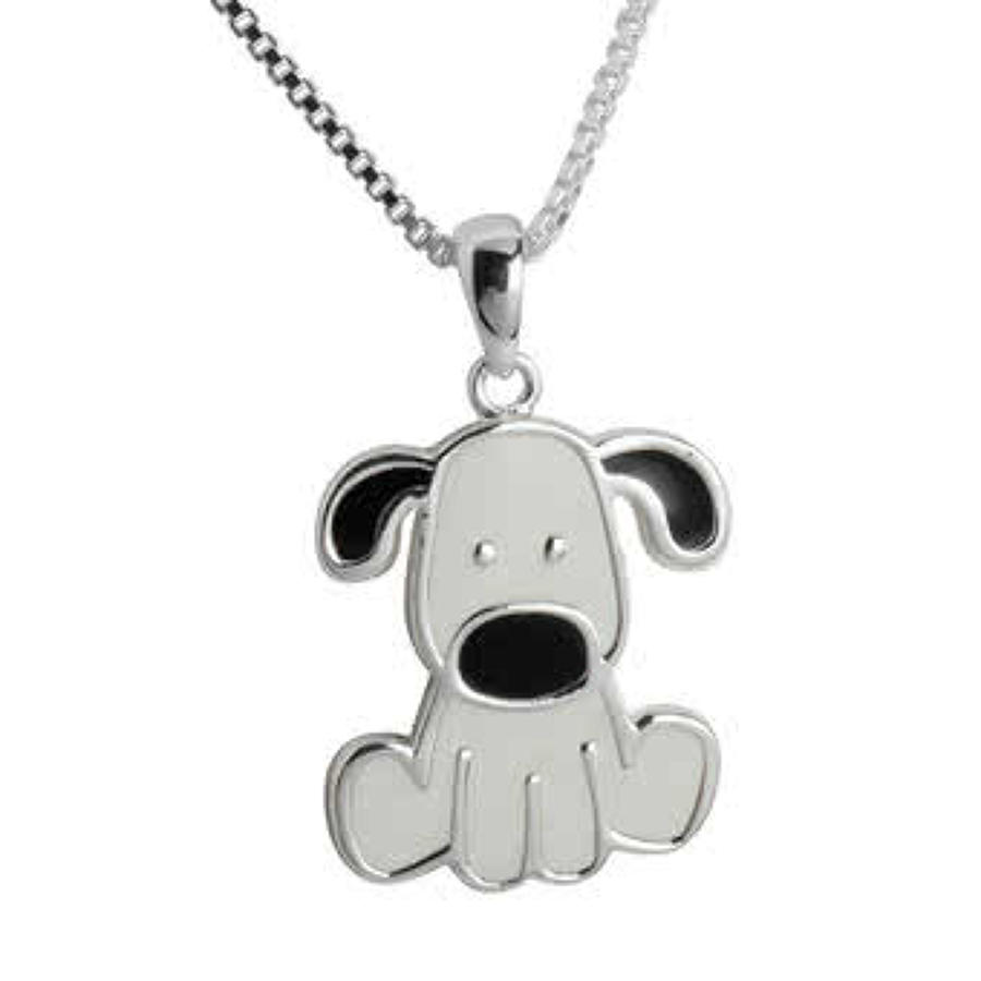 Sterling Silver White Enamel Dog Pendant