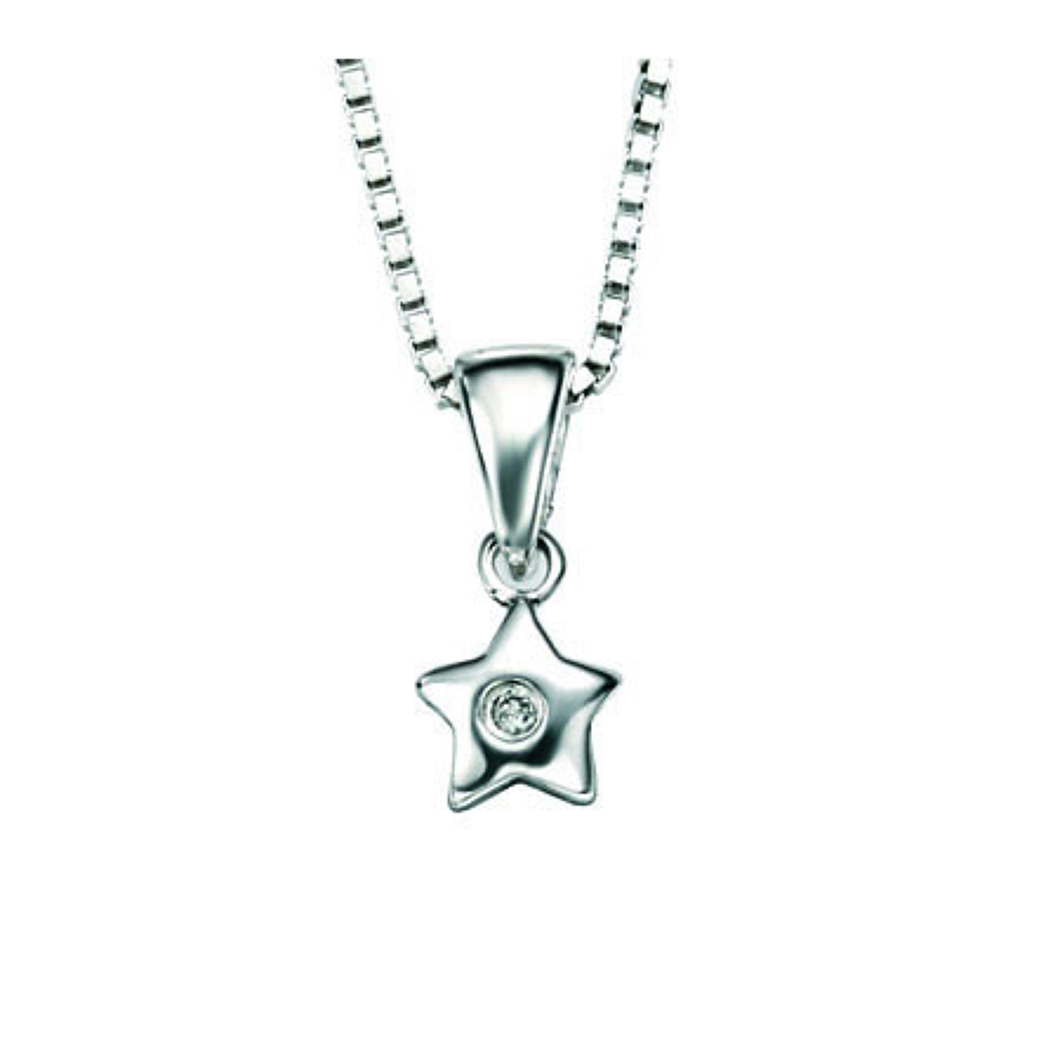 Sterling Silver & Diamond Set Star Pendant