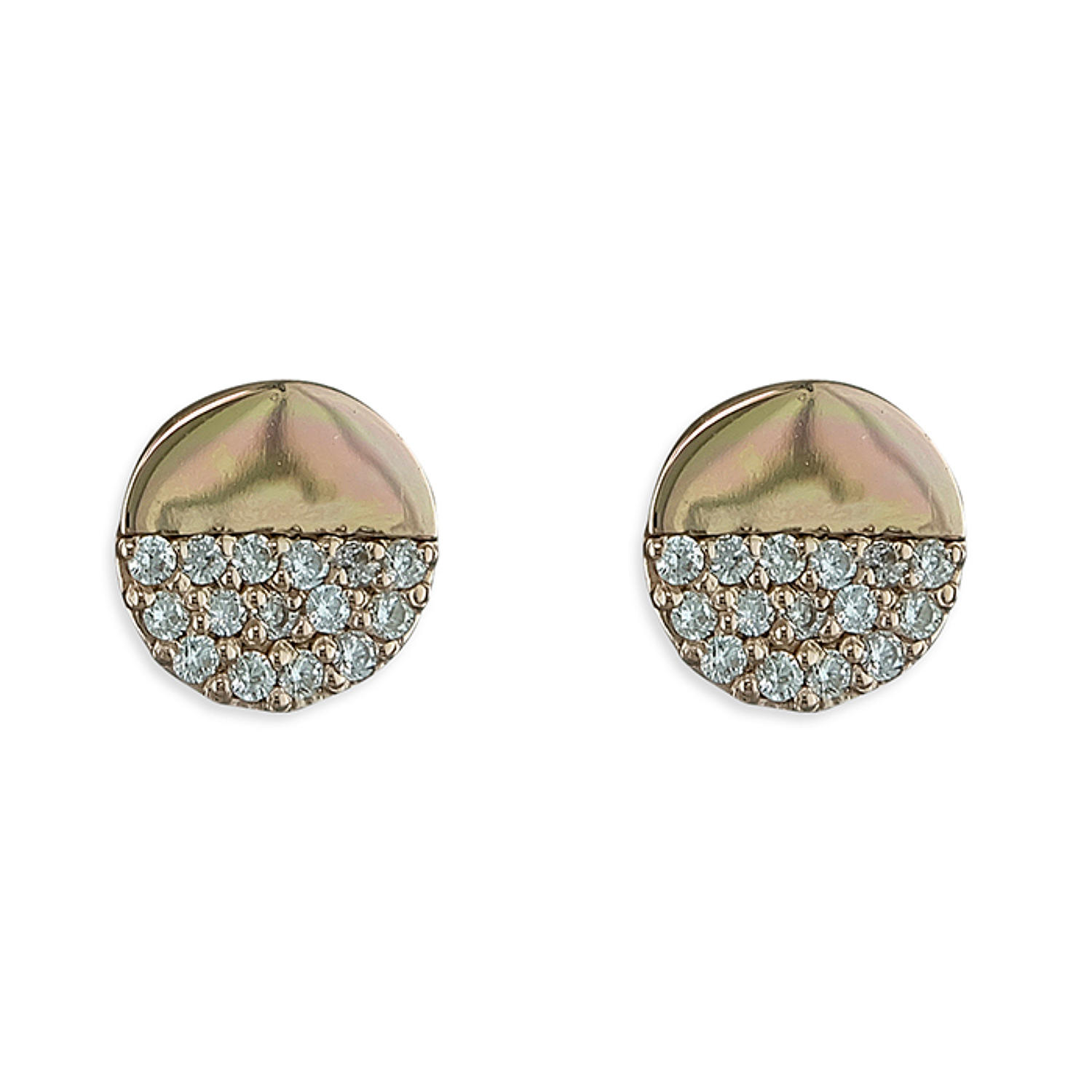 Sterling Silver & Rose Gold Plated Cubic Zirconia Disc Stud Earrings