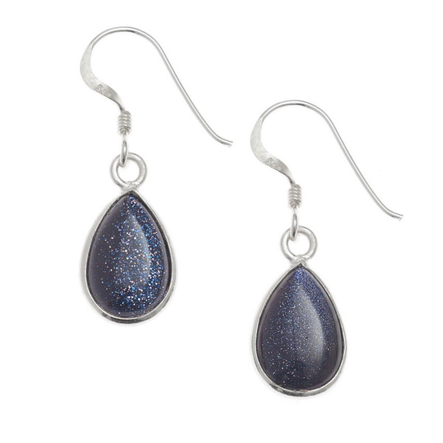 Sterling Silver Blue Goldstone Teardrop Drop Earrings