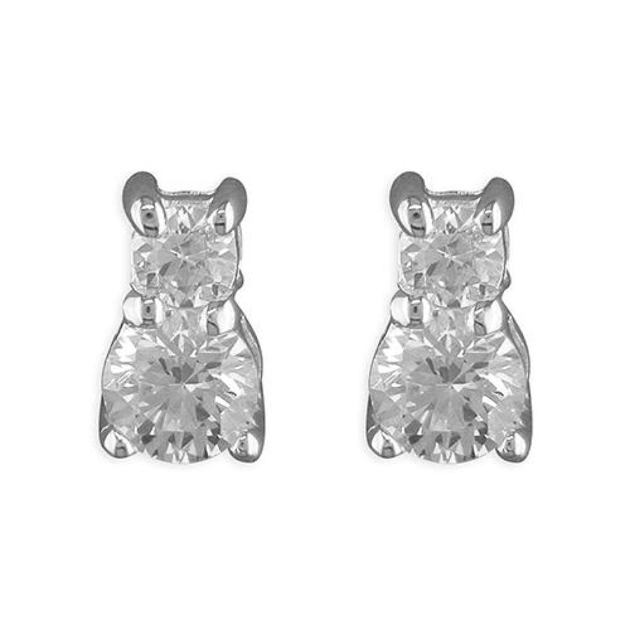 Sterling Silver Double Cubic Zirconia Stud Earrings