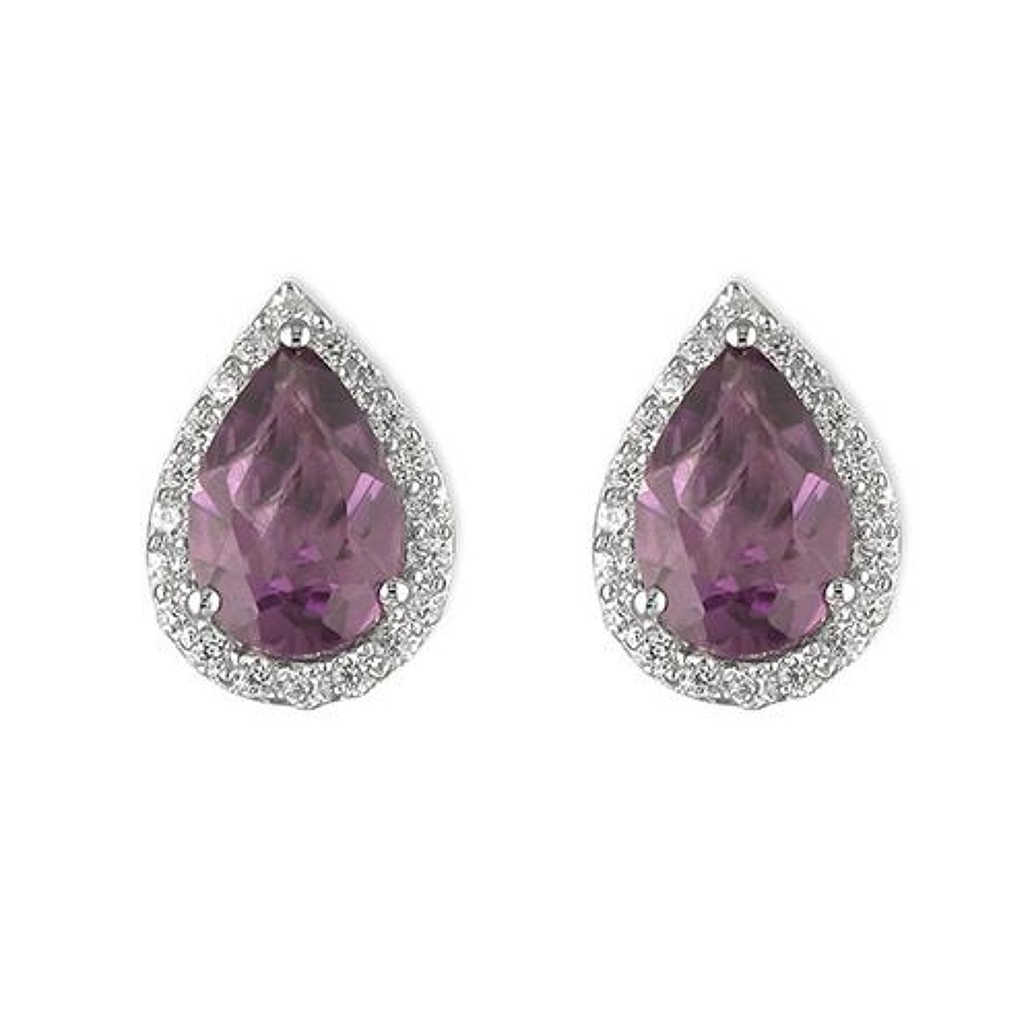 Sterling Silver Amethyst and Cubic Zirconia Teardrop Cluster Studs