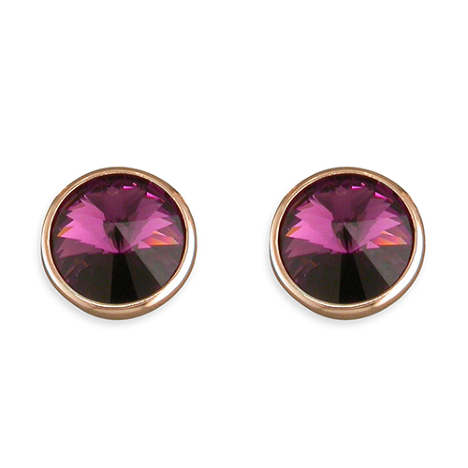Sterling Silver & Rose Gold Plated Purple Crystal Stud Earrings