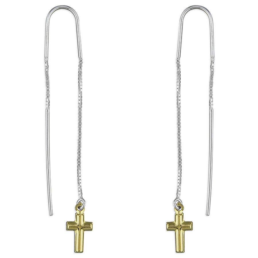 Sterling Silver & Gold Plated Pull-Through Cross Drop Earrings