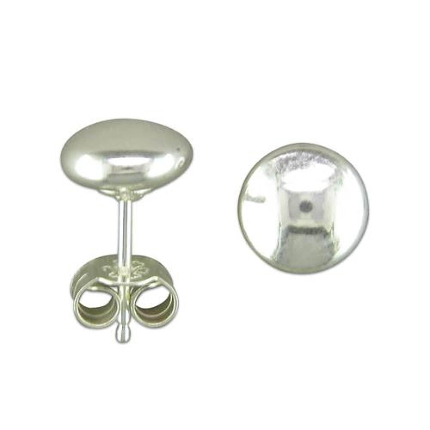 Sterling Silver 6mm Button Stud Earrings