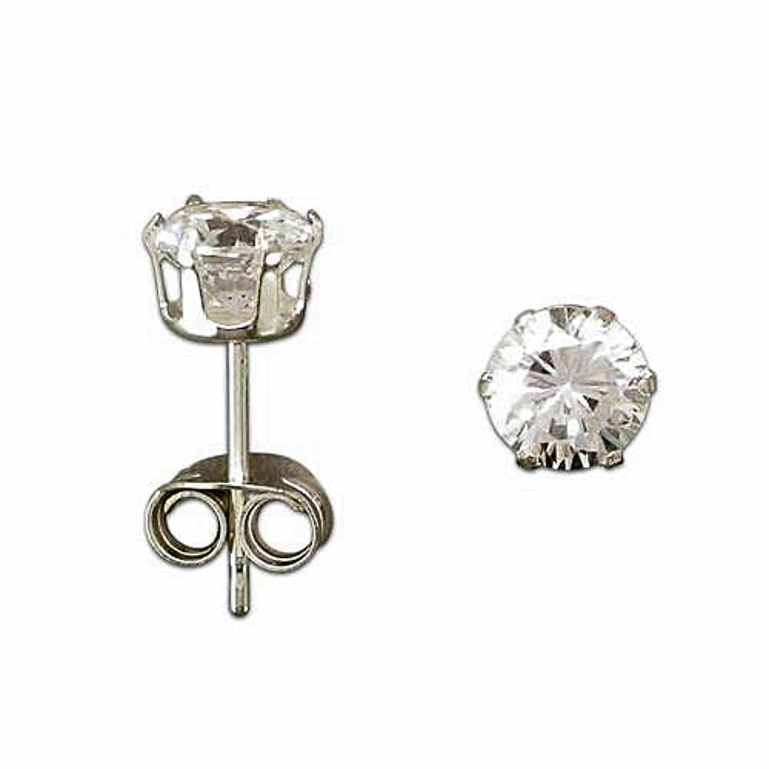 Sterling Silver 4mm Cubic Zirconia Stud Earrings