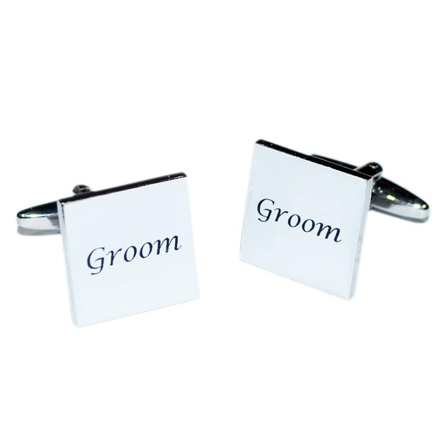 White Square Wedding Day Cufflinks