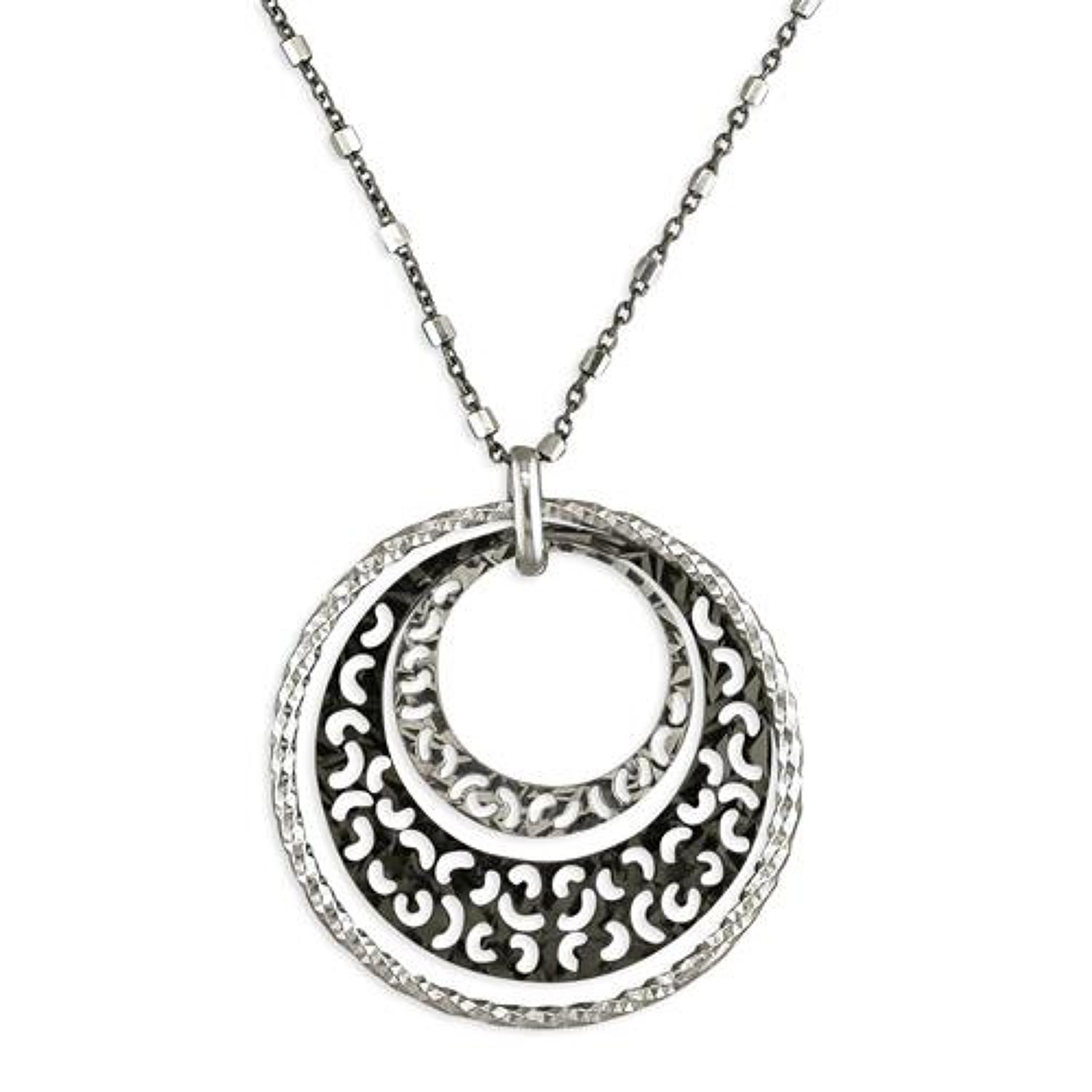 Sterling Silver & Black Multi Hoop Diamond Cut Pendant