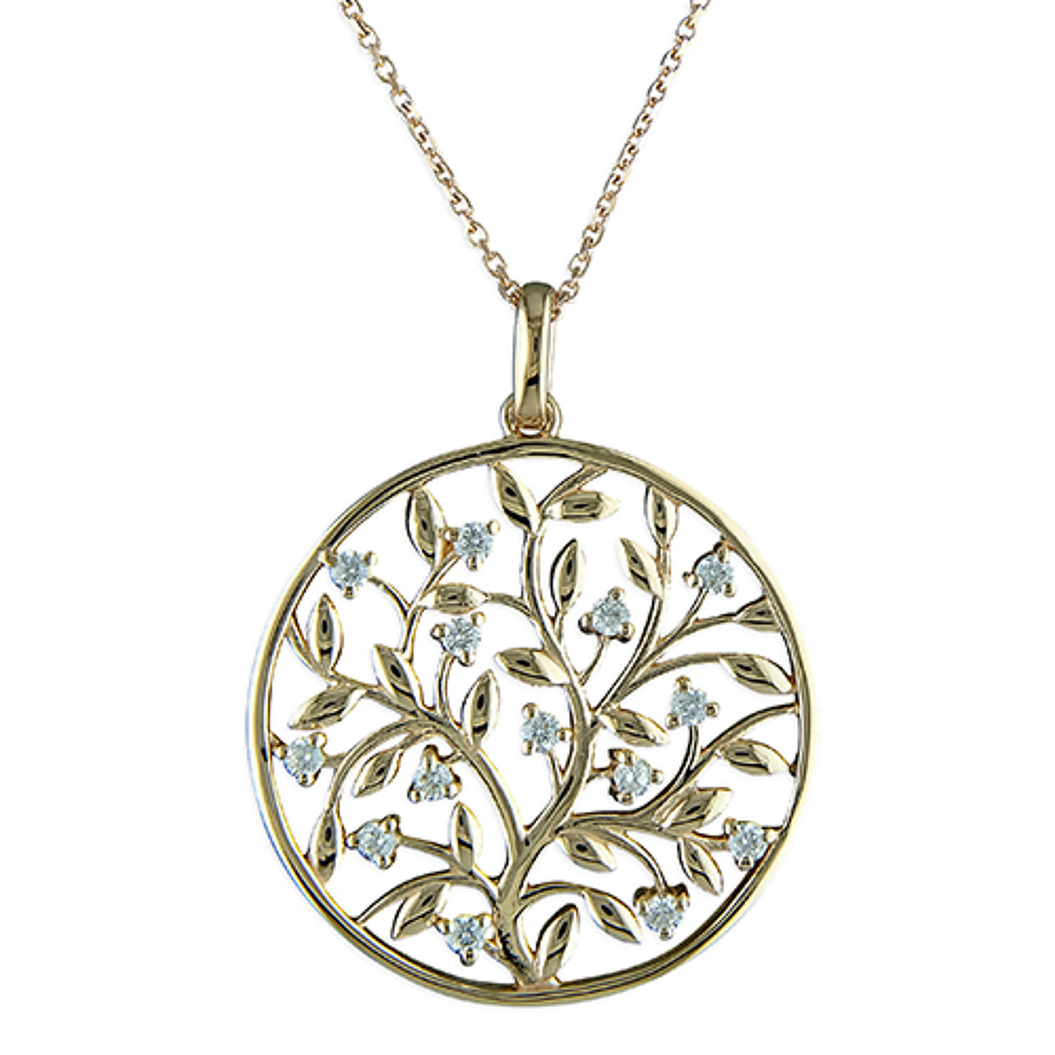 Sterling Silver & Rose Gold Plated Cubic Zirconia Tree Of Life Pendant