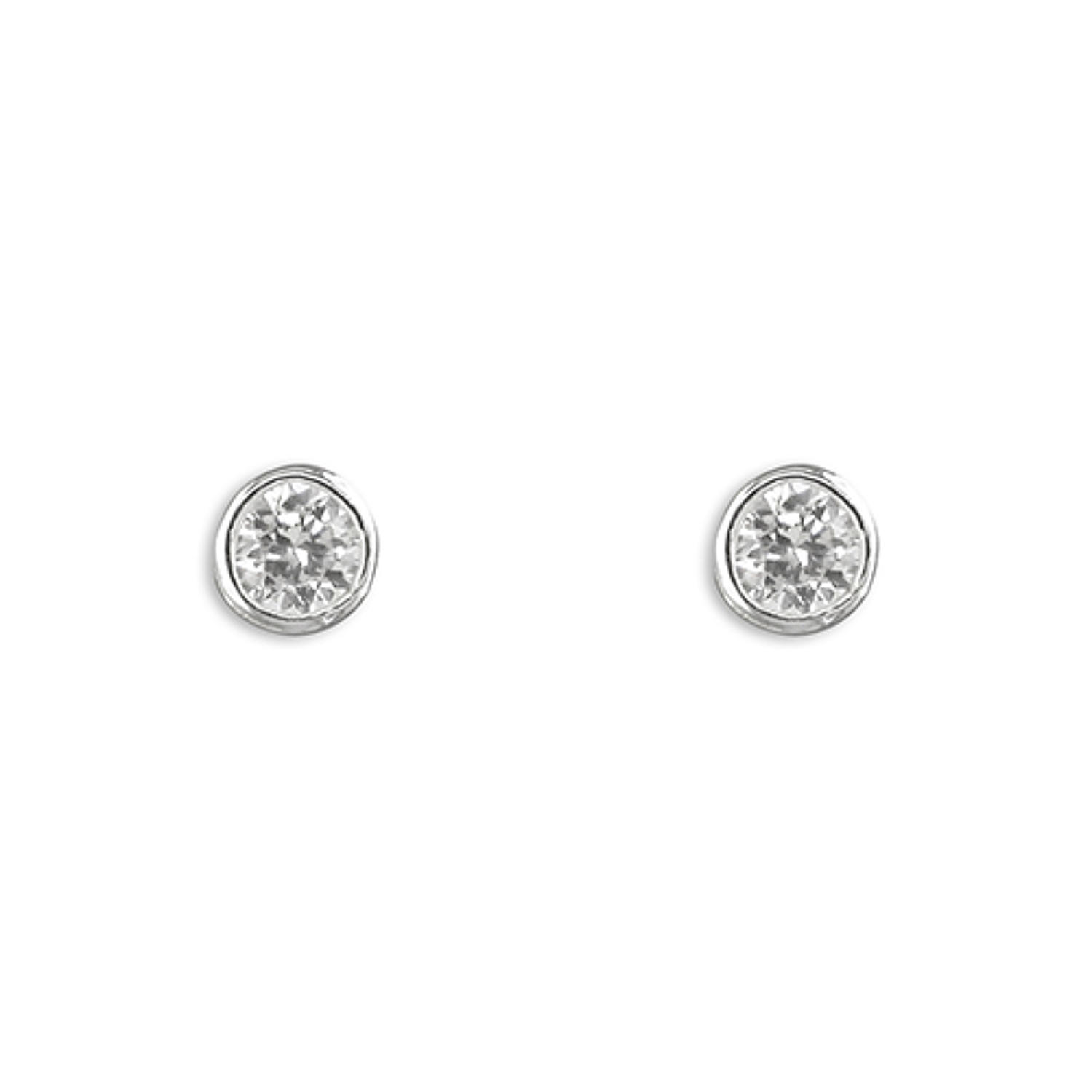 Sterling Silver 4mm Cubic Zirconia Rub-Over Stud Earrings