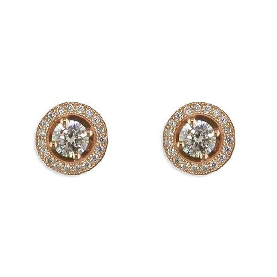 Sterling Silver & Rose Gold Plated Cz Cluster Stud Earrings